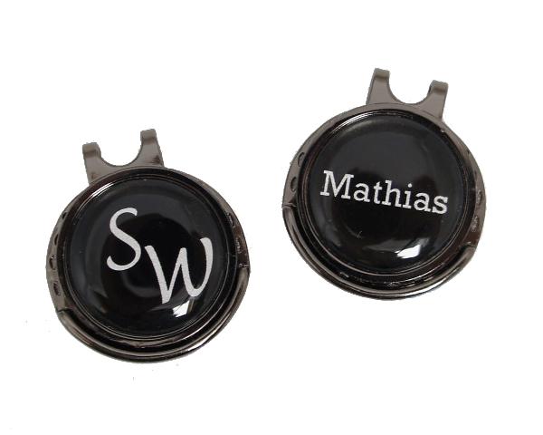 """Cap-Clip """"Draw"""" in metallic-schwarz inkl. persönlichem Ballmarker"""