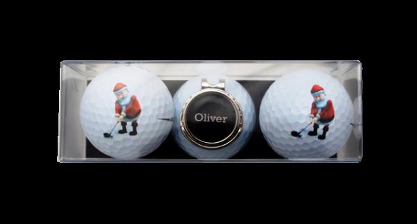 "Golfball-Set ""NIKOLAUS"" mit personalisiertem Clip"