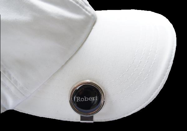 """Cap-Clip """"Putt"""" + Marker mit INITIALEN oder VORNAMEN, silberfarben"""