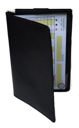 Leder Scorecard Mappe für Golfscorekarten in schwarz