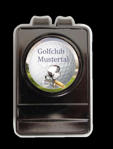 """Gürtel-Clip """"HOOK"""" + Marker mit Golfclub-Logo"""